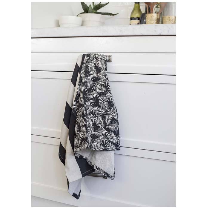 Raine & Humble Palm Tea Towel Pack (2pc) - Raven | Koop.co.nz