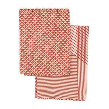 Raine & Humble Multi Grid Tea Towel Pack (2pc) - Red | Koop.co.nz