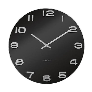 Karlsson Vintage Round Black Glass Wall Clock (35cm) | Koop.co.nz