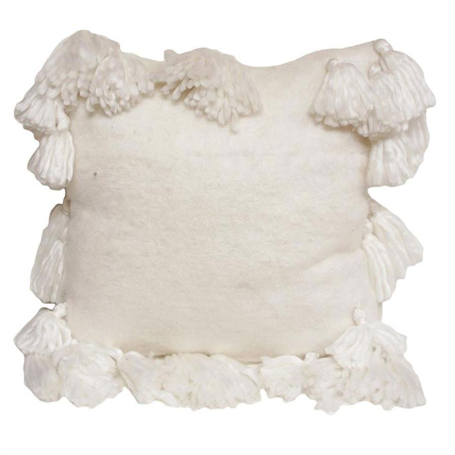 Stoneleigh & Roberson White Bell Tassel Cushion | Koop.co.nz