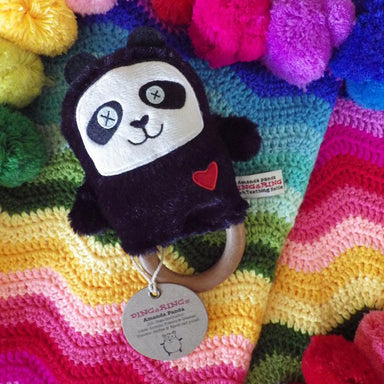 O.B Designs Ding A Ring Teether Rattle - Amanda Panda | Koop.co.nz