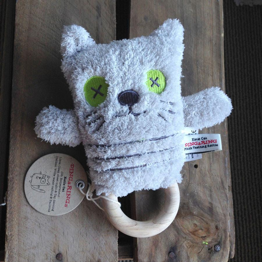 O.B Designs Ding A Ring Teether Rattle - Katie Cat | Koop.co.nz