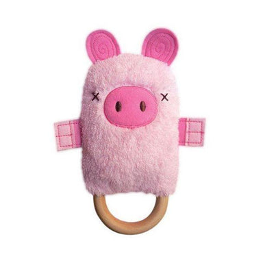 O.B Designs Ding A Ring Teether Rattle - Patty Pig | Koop.co.nz