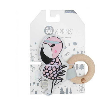 Kippins Coco Flamingo Organic Cotton Teething Rattle | Koop.co.nz