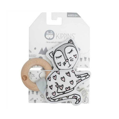Kippins Kitty Cat Organic Cotton Teething Rattle | Koop.co.nz