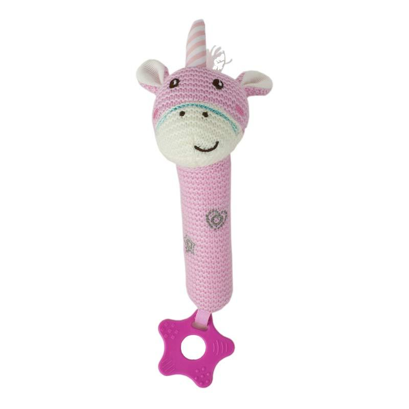 Baby Boo Knitted Unicorn Squeaker - Pink | Koop.co.nz
