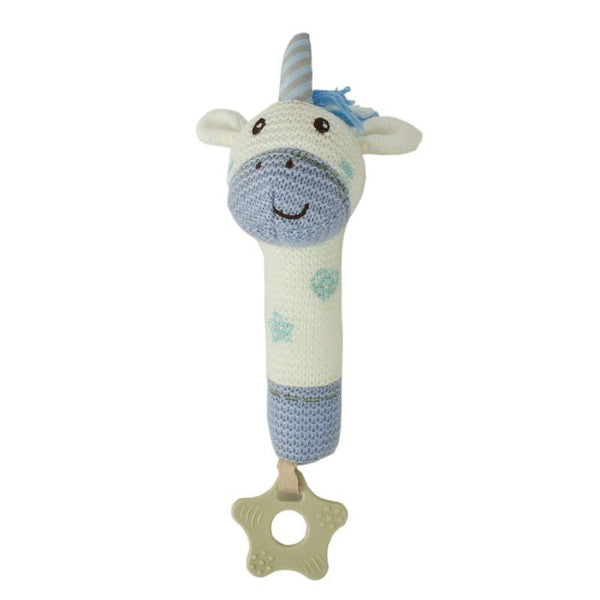 Baby Boo Knitted Unicorn Squeaker - Blue | Koop.co.nz
