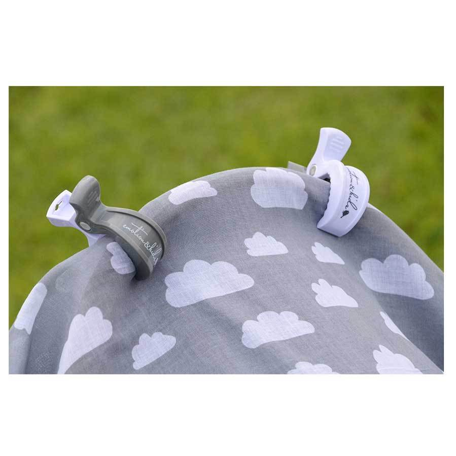 Emotion & Kids Pram Clip Pack - Grey & White (2pc) | Koop.co.nz
