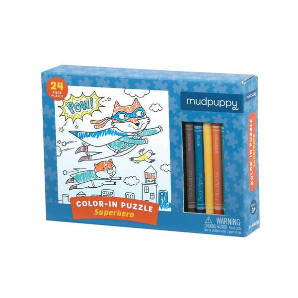 Mudpuppy Colour In Puzzle – Superhero (24pc) | Koop.co.nz
