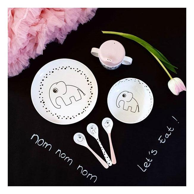 Done By Deer Happy Dots 3 Spoon Set - Powder | Koop.co.nz