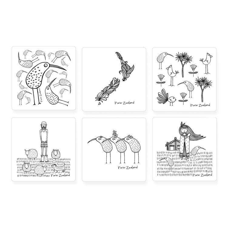 Karen Design New Zealand Coasters – White (6pc) | Koop.co.nz