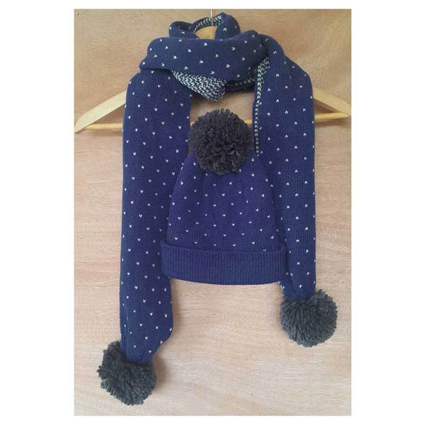 Hello Friday Kids Polka Dot Scarf & Beanie – Navy/Grey | Koop.co.nz
