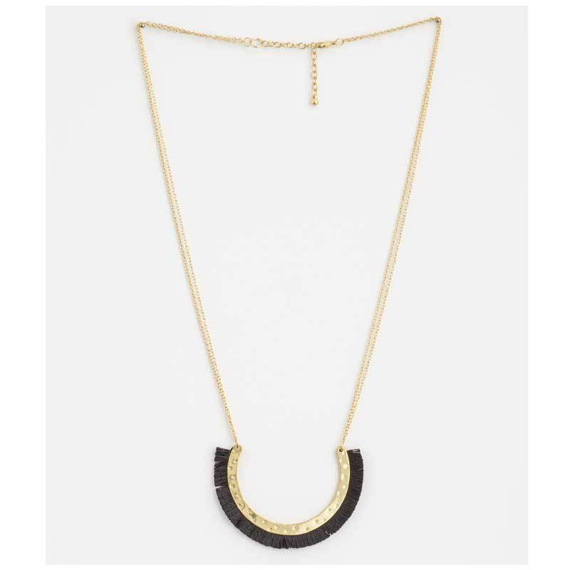 Stella & Gemma Black Cotton Arc Necklace | Koop.co.nz