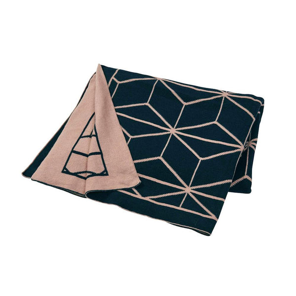 Amalfi Reversible Empire Knit Throw – Navy & Pink | Koop.co.nz