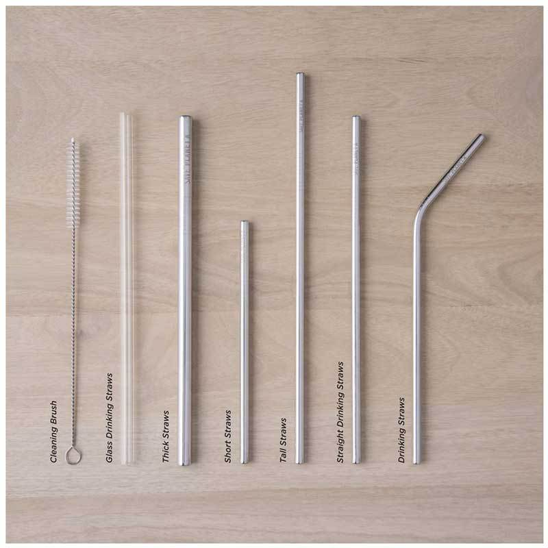Save Planet A Stainless Steel Short Straws (6pk) | Koop.co.nz