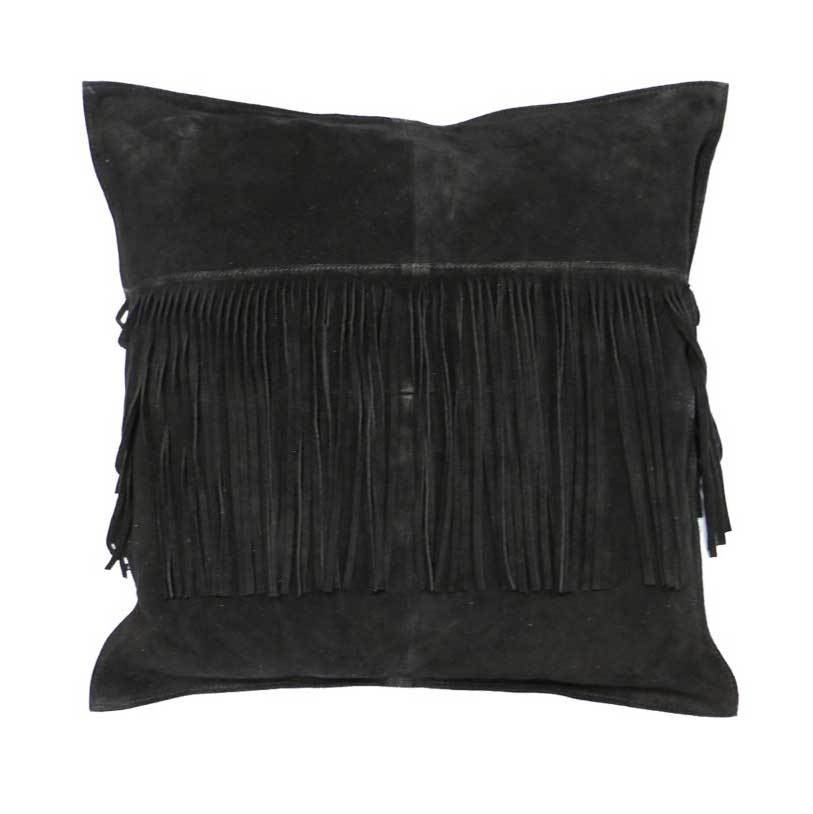 Le Forge Suede Fringe Cushion - Black | Koop.co.nz