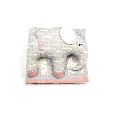Indus Design Elephant Baby Blanket & Cushion Toy Gift Set - Pink | Koop.co.nz