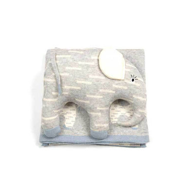 Indus Design Elephant Baby Blanket & Cushion Toy Gift Set - Blue | Koop.co.nz
