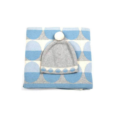 Indus Design Baby Blanket & Hat Gift Set - Blue | Koop.co.nz