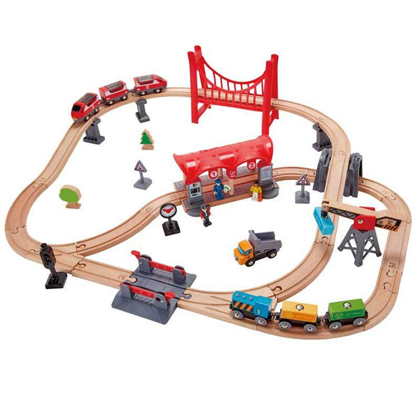 Hape Busy City Rail Set (51pc) | Koop.co.nz