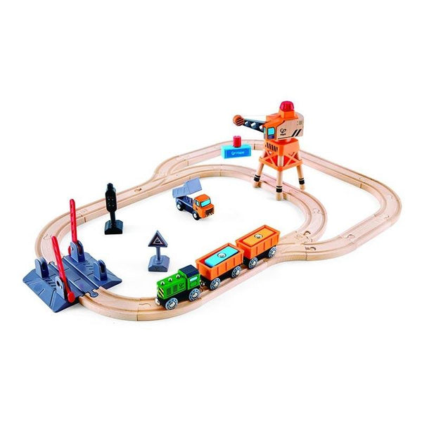 Hape Crossing & Crane Set (34pc) | Koop.co.nz