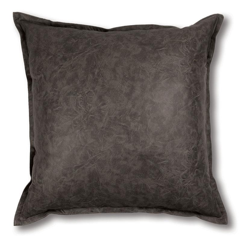 Madras Link Boston Faux Leather Cushion - Charcoal (50cm) | Koop.co.nz