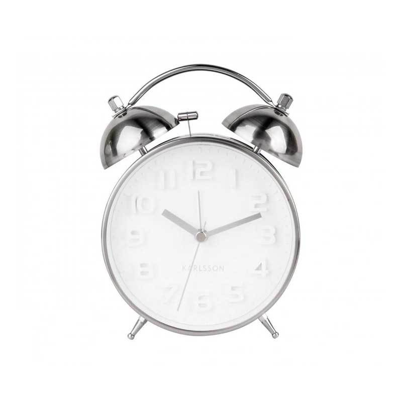 Karlsson Mr White Alarm Clock - Silver | Koop.co.nz