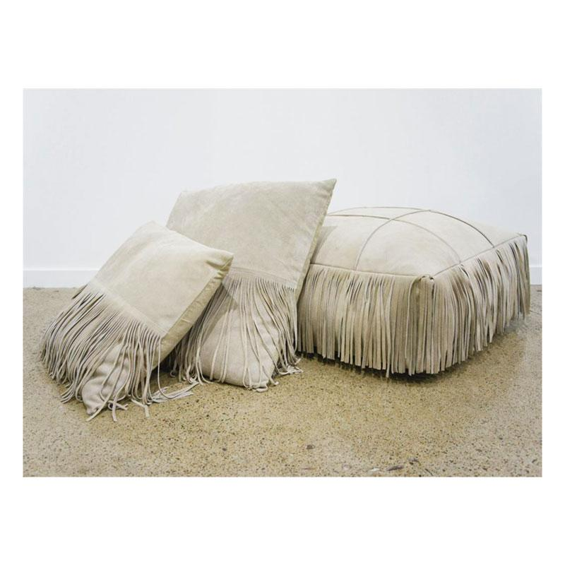 Banyan Home Suede Leather Fringe Cushion - Light Beige (45cm) | Koop.co.nz