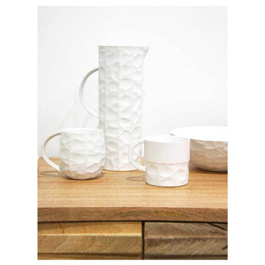 Jennifer Dumet Chiseled Jug - Matte White | Koop.co.nz