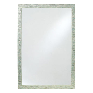 LaVida Rectangle Mosaic Soft Blue Shell Mirror (91cm) | Koop.co.nz