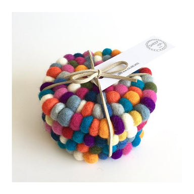 Sheepish Design NZ Wool Coasters – Rainbow | Koop.co.nz