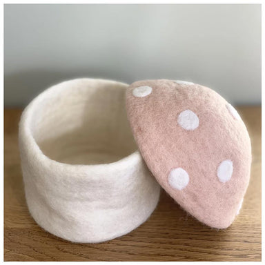 Sheepish Design Hand Made NZ Wool Toadstool Storage Box - Blush | Koop.co.nz