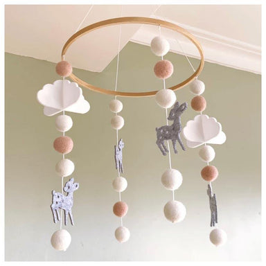 Sheepish Design Hand Made NZ Wool Baby Mobile - Blush Bambi | Koop.co.nz