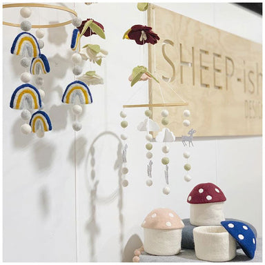 Sheepish Design Hand Made NZ Wool Baby Mobile - Rainbows Blue | Koop.co.nz