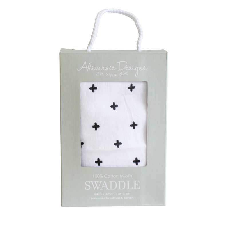 Alimrose Muslin Swaddle Wrap – Black Cross | Koop.co.nz