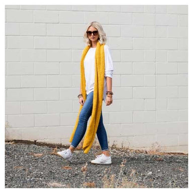 Stella & Gemma Long Woven Chunky Knit Scarf - Mustard | Koop.co.nz