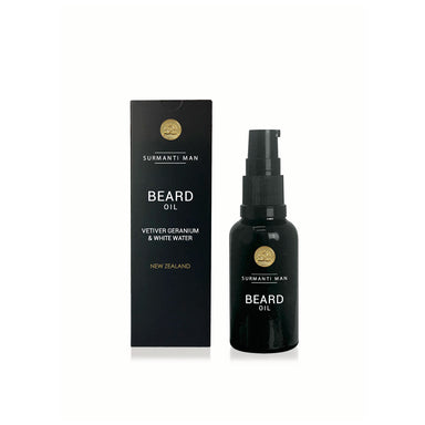 Surmanti Man Beard Oil - Vetiver, Geranium & White Water | Koop.co.nz