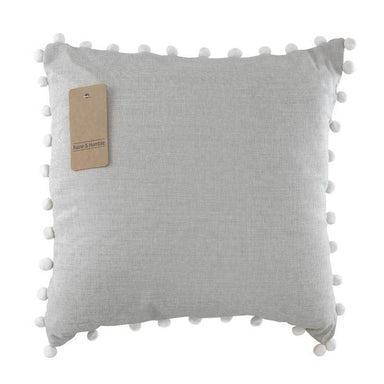 Raine & Humble Chambray Pom Cushion - Grey (45cm) | Koop.co.nz