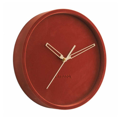 Karlsson Lush Velvet Wall Clock - Clay Red (30cm) | Koop.co.nz