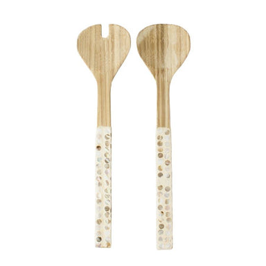 LaVida Natural Shell Salad Servers | Koop.co.nz