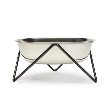 Bendo Luxe Woof Dog Bowl - Chrome & Black | Koop.co.nz