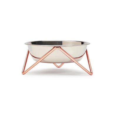 Bendo Luxe Meow Cat Bowl - Chrome Bowl & Copper Stand | Koop.co.nz