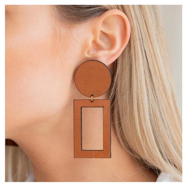 Brookside The Label Leather Rectangle Cut Out Studs - Tan | Koop.co.nz