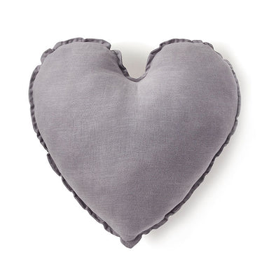 Nana Huchy Linen Heart Cushion - Grey (45cm) | Koop.co.nz