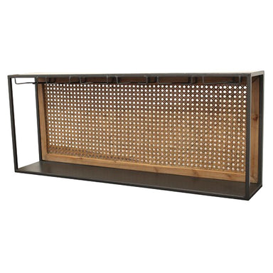 Rembrandt Fine Arts Rattan & Steel Wall Wine Rack With Glass Hangers | Koop.co.nz