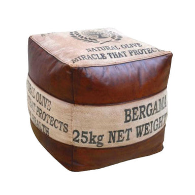 Rembrandt Fine Arts Buffalo Leather & Canvas Ottoman | Koop.co.nz