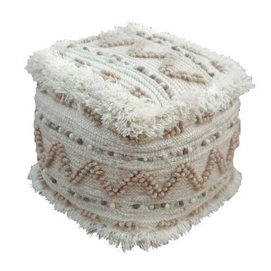 Rembrandt Fine Arts Natural Boho Woollen Pouf | Koop.co.nz