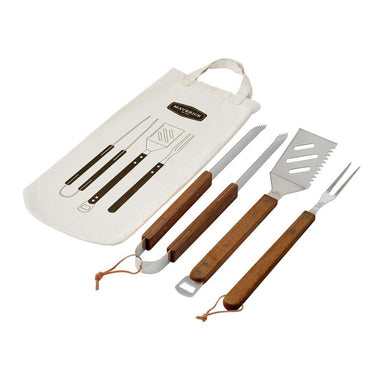 Maverick Acacia BBQ Tool Set In Bag | Koop.co.nz
