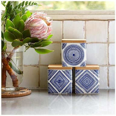 Ladelle Noah Aztec Canister Set – Blue (3pc) | Koop.co.nz