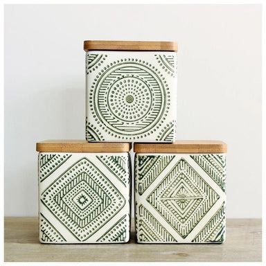 Ladelle Noah Aztec Canister Set – Green (3pc) | Koop.co.nz